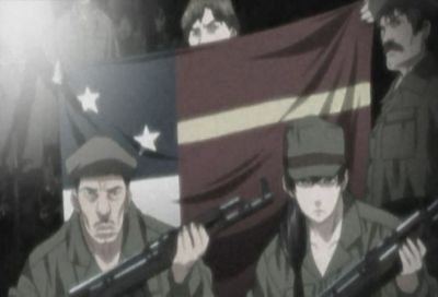 Despite the fuzz filter, you can see all the details well shaded on the flag and on their uniforms